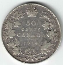 CANADA 1914 50 CENTS HALF DOLLAR KING GEORGE V CANADIAN STERLING SILVER COIN