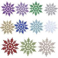 24pcs Snowflakes Christmas Tree Decoration Glitter Snow Flake Xmas Party Decor