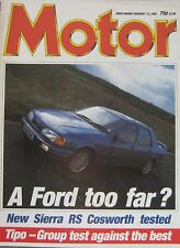 Motor magazine 13/2/1988 featuring Ford Sierra RS Cosworth road test, Fiat, VW