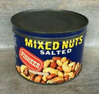 *OLD Advertising Key Wind Tin Can PIONEER MIXED SALTED NUTS Indianapolis Indiana