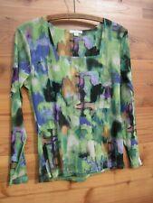 Erin London Sheer Sleeve Top M Med Knit Square Neck Green Black Watercolor Print