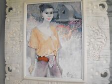 I Wayan Pengsong (Indonesian) Oil on Canvas Painting Portrait of a Lady Woman