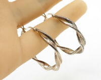 925 Sterling Silver - Vintage Swirled Hinged Closure Hoop Earrings - E1276