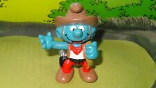 Smurfs Brown Rope Western Cowboy Smurf Rare Display Toy Classic Paint Dot Figure