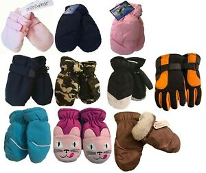 Kids Infants Child Ski MITTENS or 5 FINGERS GLOVES / 2 T to 4 T