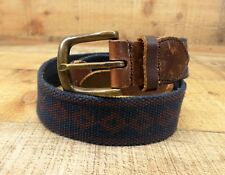 Canvas Leather Belt Diamond Pattern Distressed Blue Brown 30