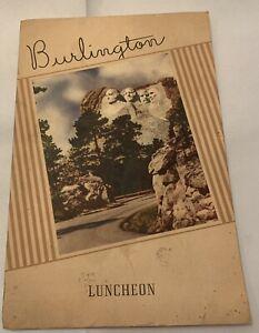 1946 Burlington Route Luncheon Menu Black Hills South Dakota