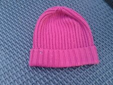 Raspberry Knitted Tommy Hilfiger Ribbed Beanie O/S