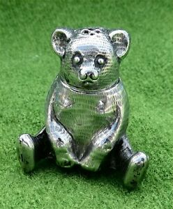 LITTLE 925 SILVER MINIATURE TEDDY BEAR NOVELTY PEPPERETTE / SHAKER - c1910