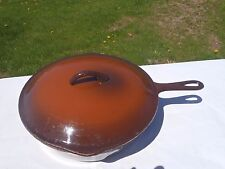 RARE VINTAGE CAST IRON PAN,PORCELAIN SKILLET WITH LID,FRYING PAN LARGE #8 10 1/2