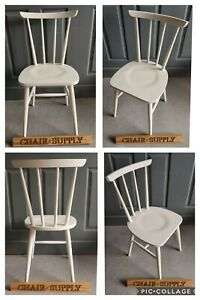 Brand New Solid Beech Enzo Bistro Kitchen Dining Chairs Farrow & Ball All White