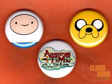 "Set of three 1"" Adventure Time pins buttons Nick Finn Jake"