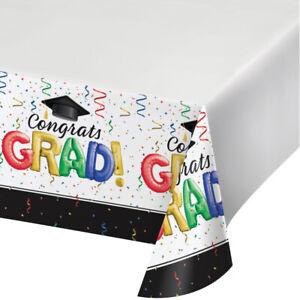Colourful Congrats Grad Plastic Party Table Cover Graduation Party Tableware