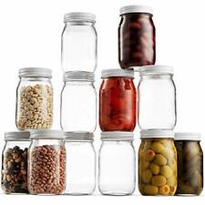 Small Glass Mason Jars 16 Ounce Mini Jars [12-Pack] For Jam, Jelly, Dressings,