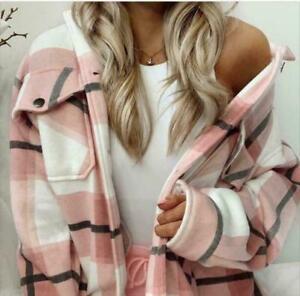 Womens Check Fleece Casual Jacket Shacket Tunic Oversized Baggy Top Shirt Coat