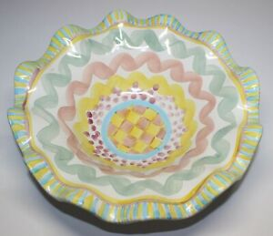 MACKENZIE-CHILDS AURORA LARGE RUFFLED SERVING BOWL