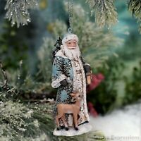 Blue Santa with Deer Christmas Ornament Tree Decoration