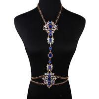 Luxury Rhinestone Crystal Flower Pendant Bikini Body Chain Necklace Jewelry