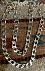 "Heavy Sterling Silver 20"" Curb Neck Chain"