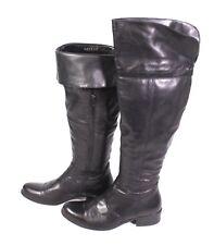 2S Pesaro Damen Overknee Stulpen Stiefel Biker Boots Leder schwarz Gr. 37