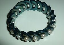 Cuff Stretch Bracelet Blue Circle with Pearls