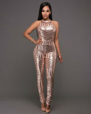 1206682511 Womens Sequin Clubwear Jumpsuit Sleeveless Bodycon Romper Party Overalls
