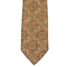 BACHRACH 100% Silk Shiny Brown Paisley Floral Elegant  Men's Tie Made In Italy