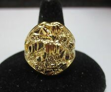 SIZE 9 14KT GOLD EP LARGE OVAL NUGGET BLING RING