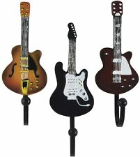 Vintage Guitar Resin Wall Coat Hooks in Tan, Brown and Black (Set of 3)