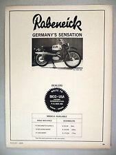 Rabeneick K 103 GS Motorcycle PRINT AD - 1965 ~~ Germany, German
