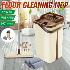 Home Wash & Dry Flat Mop Bucket Set Floor Cleaning System with 4 Mop Head Pads