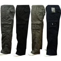 Mens New Elasticated Cargo Combat Work Cotton lightweight Trousers Pants Bottoms