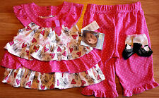 NWT Girl's Size 9-12 M Months 3Pc Vitamins Baby Pink, Wht Butterfly Top, Pants +