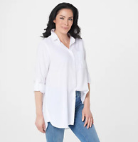 Side Stitch Regular Button Front Tunic with Pocket - White - Small