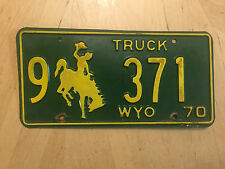 """WYOMING 1970 TRUCK  LICENSE PLATE  """" 9 371 """" WY 70 BUCKING BRONCO"""