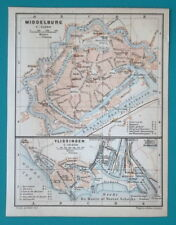 "1905 BAEDEKER MAP - HOLLAND Vlissingen Middleburg City 4.75"" x 6"" (12 x 15,5 cm)"