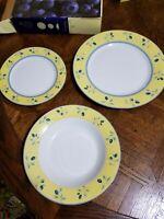 "NIB Royal Doulton ""Blueberry"" Pattern 3- Piece Set Dinner, Salad and Soup Plates"