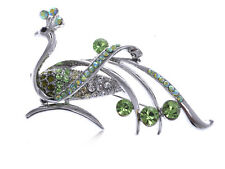 Lady Peridot Green Diamante Rhinestone Phoenix Bird Shiny Silver Pin Brooch Gift