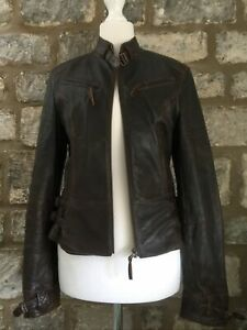 Overider Leather Jacket Size 8 Brown