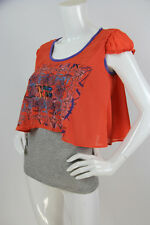 Save the Queen Sz S Top Blouse Gray Tank w/ Hot Pink Overlay Beaded Cap Sleeve