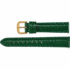 New Green Leather Watch Band Lizard Padded 14mm Long Ladies 26507142 2-Strap