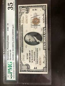 1929 Scranton,Pennsylvania Ch#77 First NB FR#1801-2  $10 BILL  (Type2)