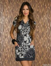Party Club Formal Wear Black/Grey motifs Pattern Mini Dress UK size 10-12