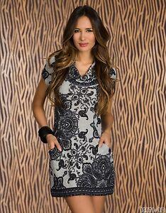 Party Club Formal Wear Black/Grey motifs Pattern Mini Dress UK size 10-12