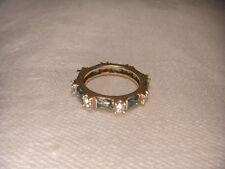 Stunning Estate 14K Yellow Gold Diamond Emerald Eternity Wedding Ring Band