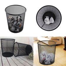 Metal Black Mesh Wastebasket Round Trash Can Recycling Bin Office Tools Supplies