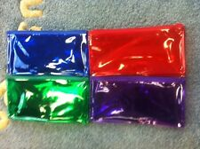 12 Pcs New 4 Color (Green, Blue,Purple,Red) Pvc Zipper Bag, Pencil, Coin Holder