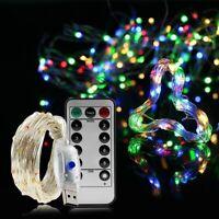 USB Micro Draht Lichterkette mit Fernbedienung und Timer - 10M 100 LED RGB