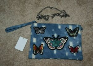 Women's Distressed Denim Butterfly Patch Large Wristlet Purse NEW
