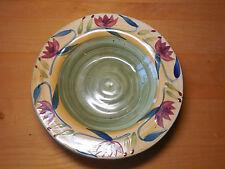"""Pier 1 ELIZABETH 12"""" Rimmed Serving Salad Bowl Green Gold 1 ea"""